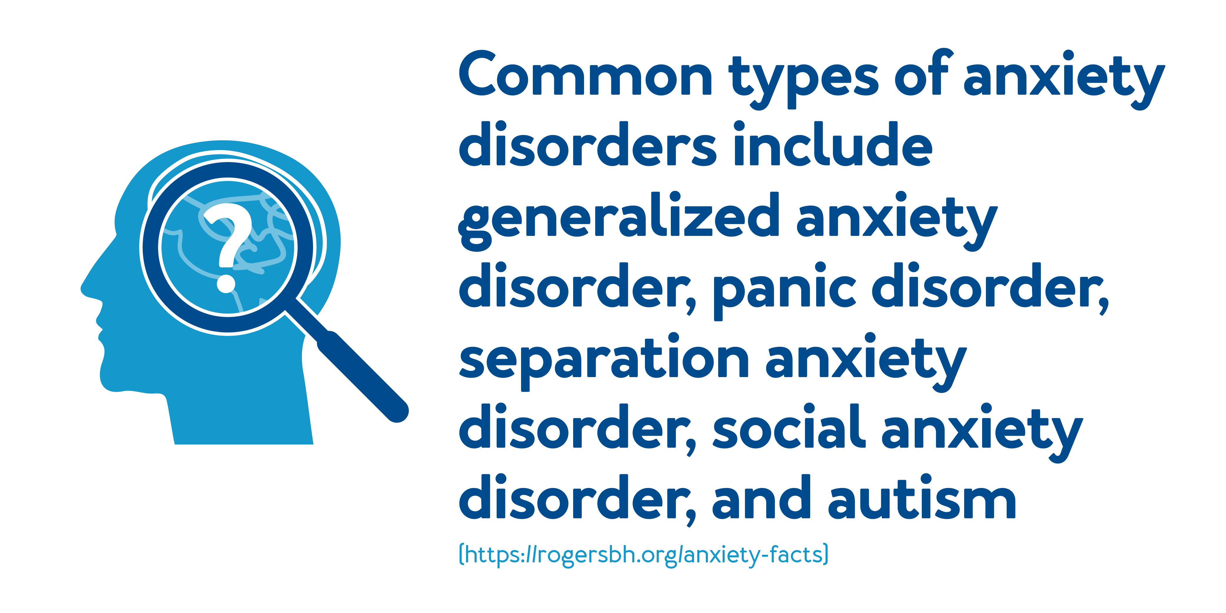 Common types of anxiety disorders include generalized anxiety disorder, panic disorder, separation anxiety disorder, social anxiety disorder, and autism.