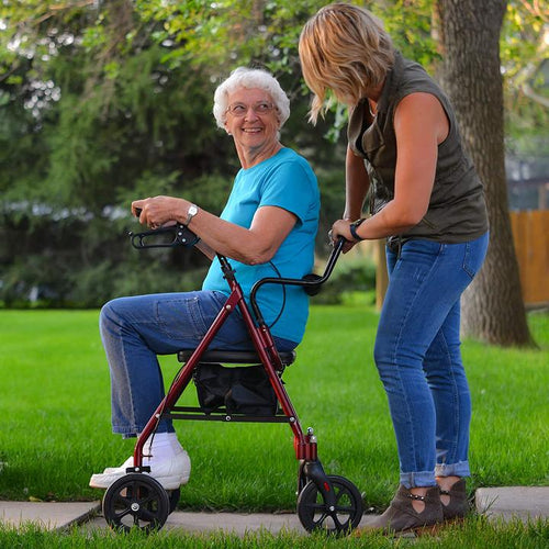 Lightweight folding rollator with seat and backrest