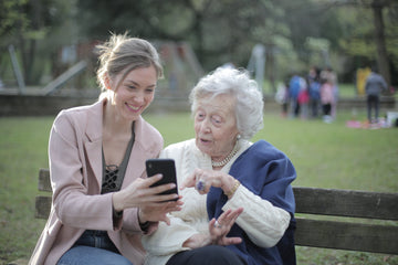 Elderly mom with daughter