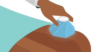 Massaging the affected area with an ice cube or ice pack for up to 5 minutes
