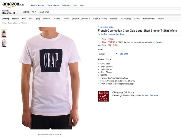 FCUK GAP GAP is Crap t-shirt French Connection GAP Inc Dave Griffiths C U in Court King Cnut