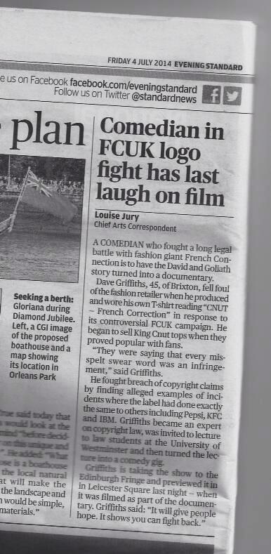 Evening Standard Dave Griffiths C U In Court King Cnut See you in Court