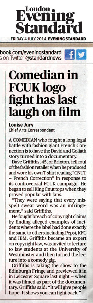 Evening Standard Dave Griffiths King Cnut C U in Court