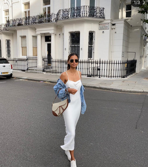 Emelie Taz in dress in london