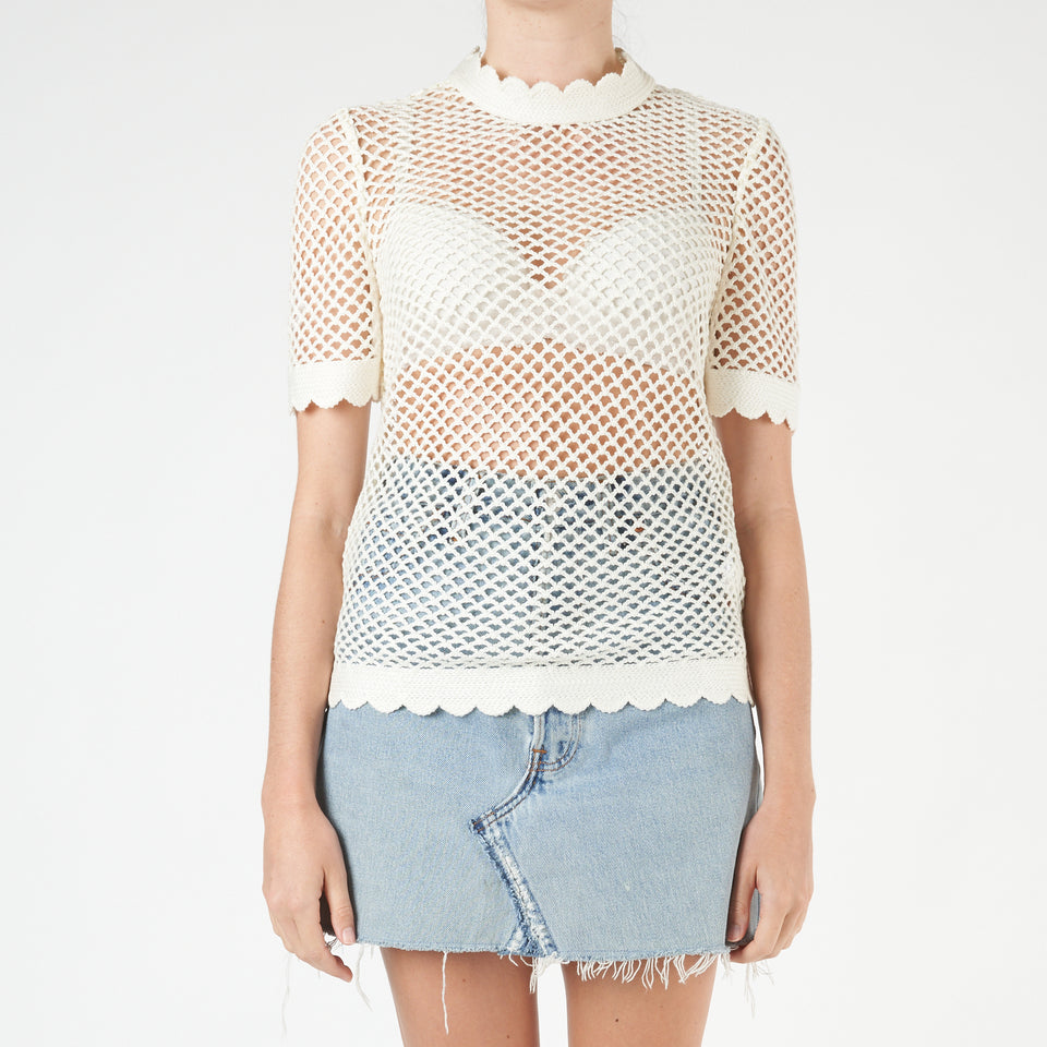 Fishnet Crochet Lace Top