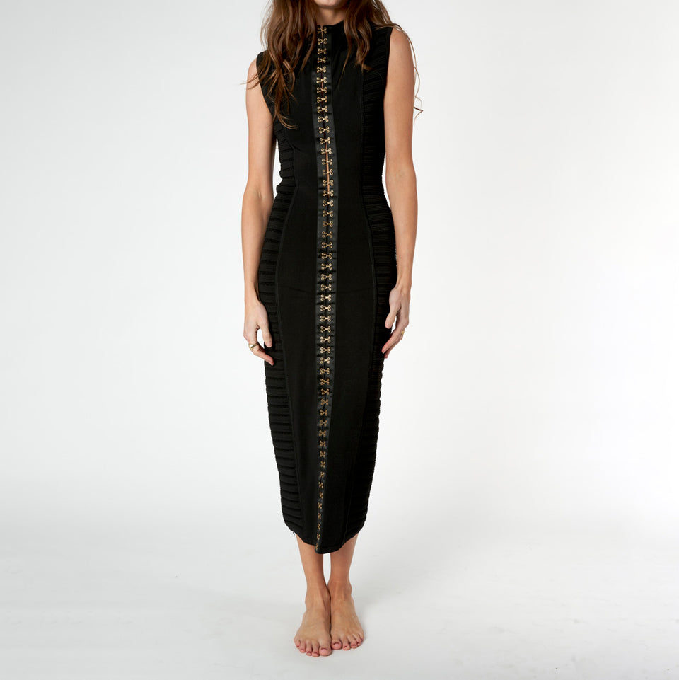 Black Hook And Eye Fastening Dress