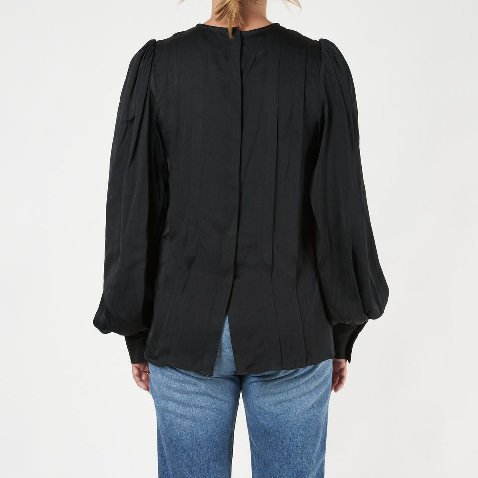 Renee Pleated Stretch-Silk Satin Blouse