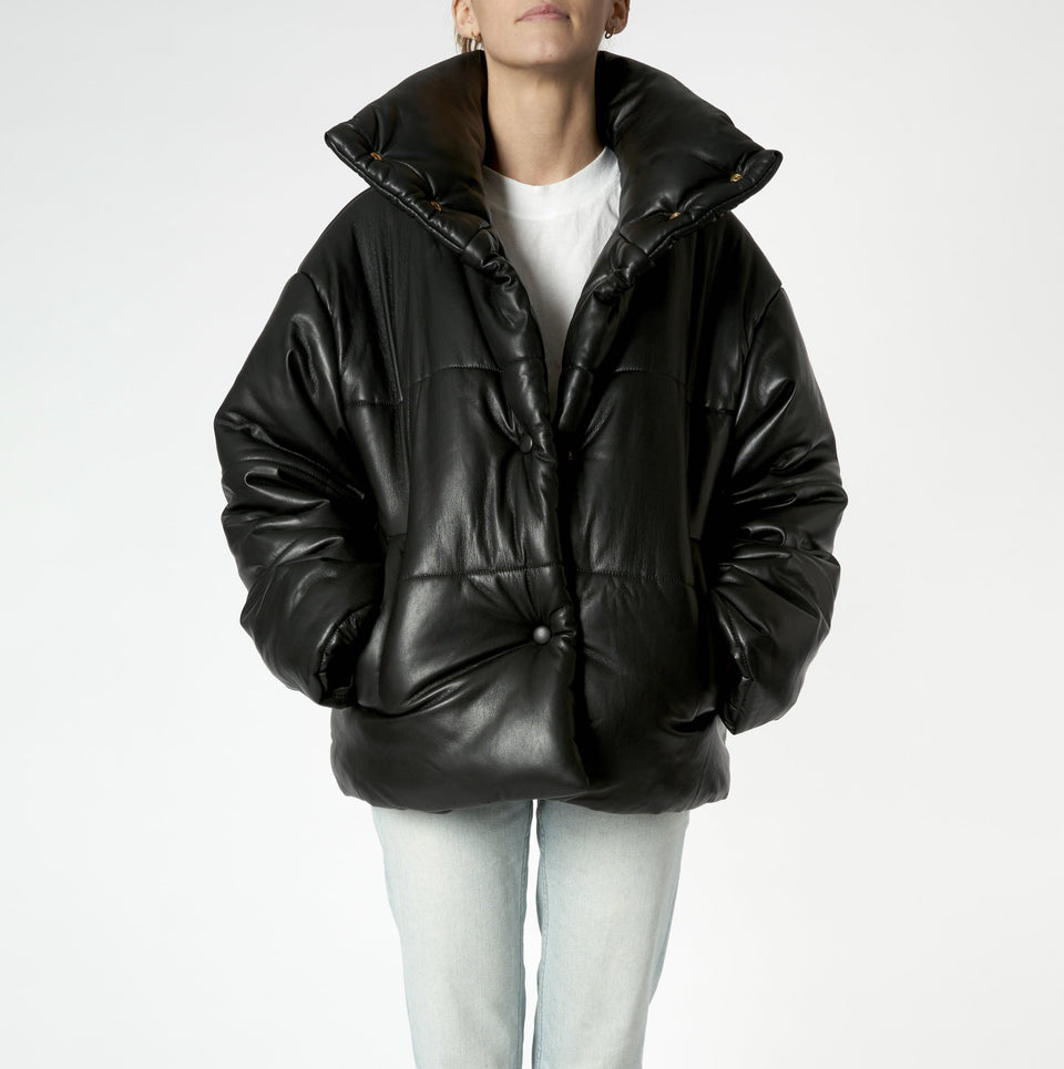 Vegan Leather Puffer Jacket