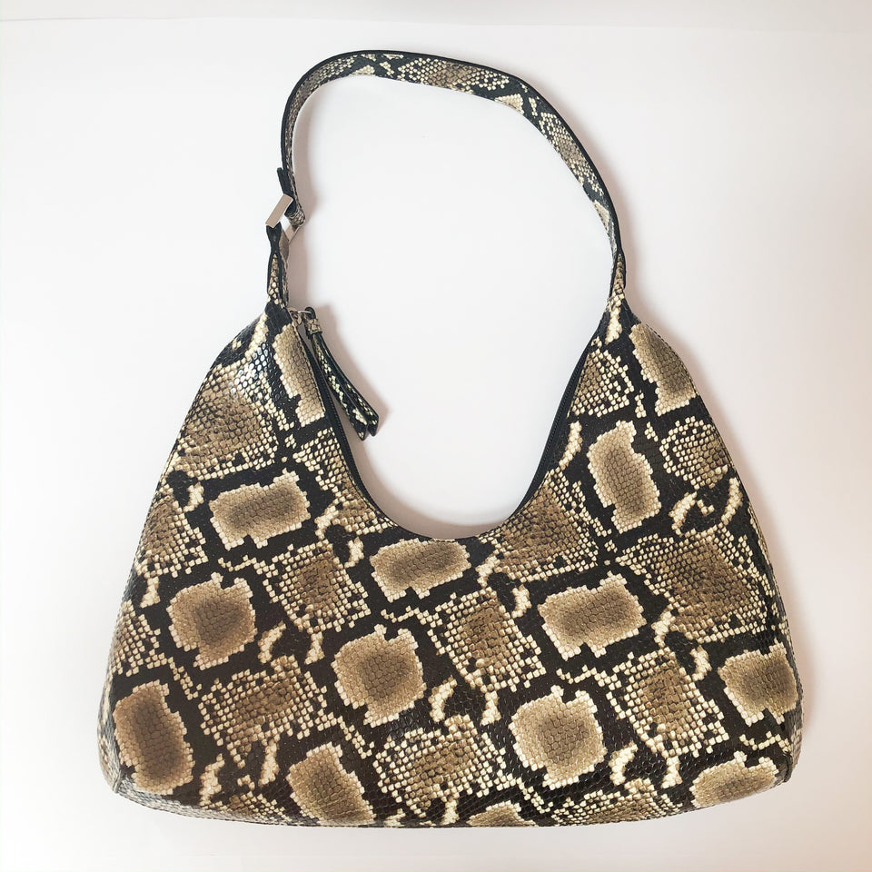 Amber Snake Effect Shoulder Bag