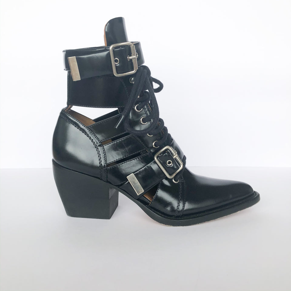 Rylee Leather Lace Up Buckle Boots