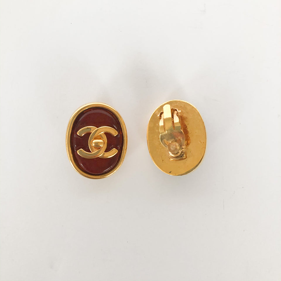 Vintage Oval Clip On Earrings