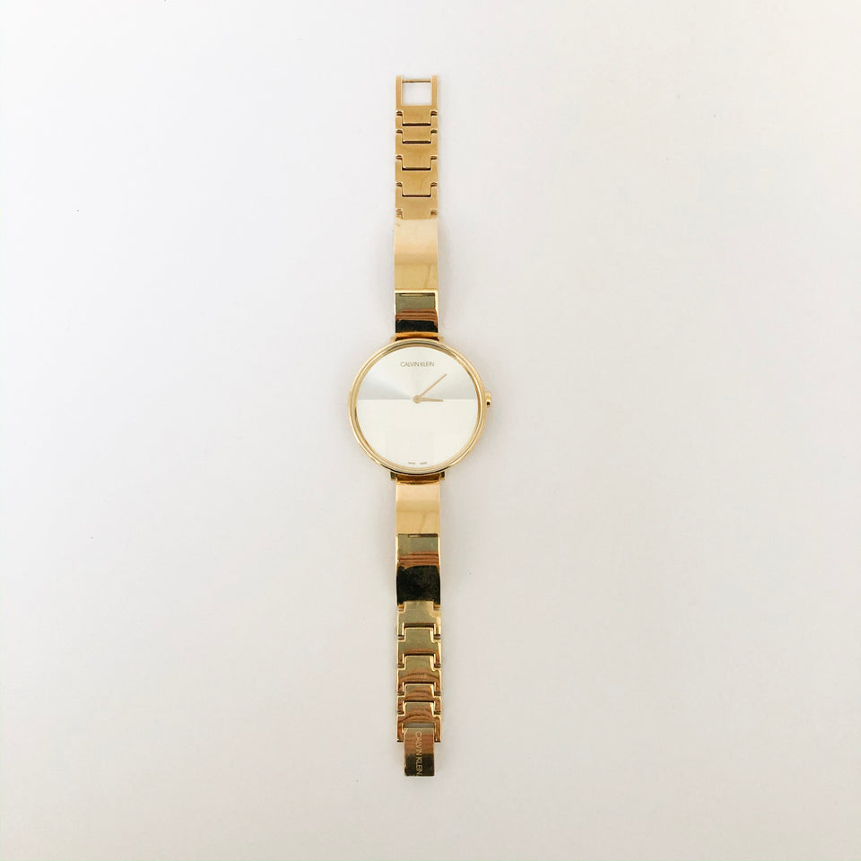 Gold Bracelet Silver Dial Watch
