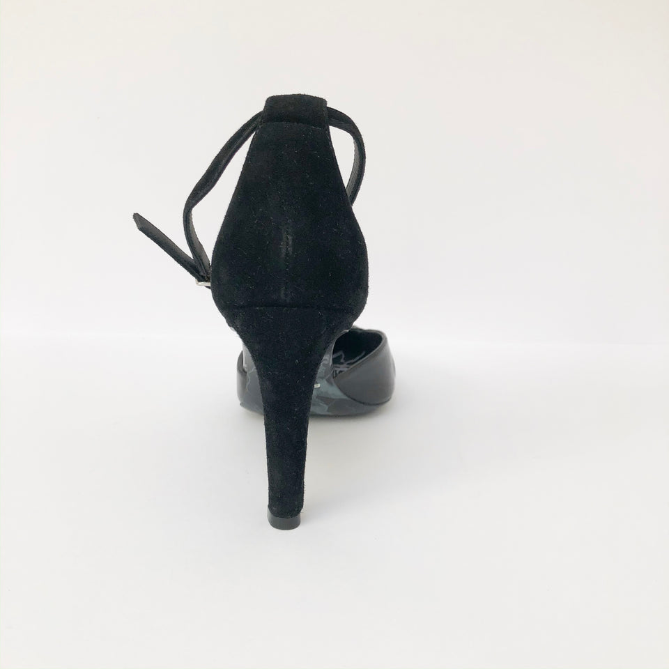 Marble-Effect Ankle Strap Pump