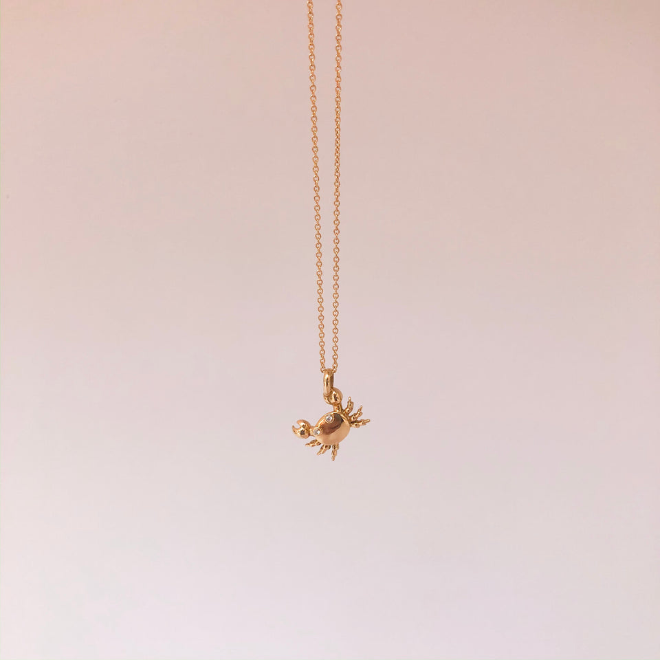 Gold Mini Crab Chain Necklace