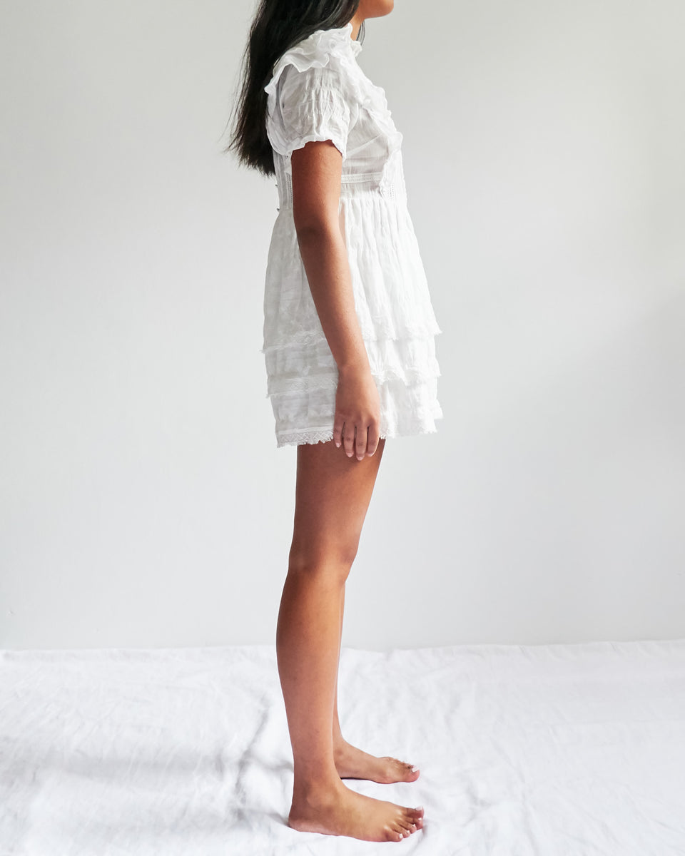 Lucille Embroidered Ruffle Mini Dress