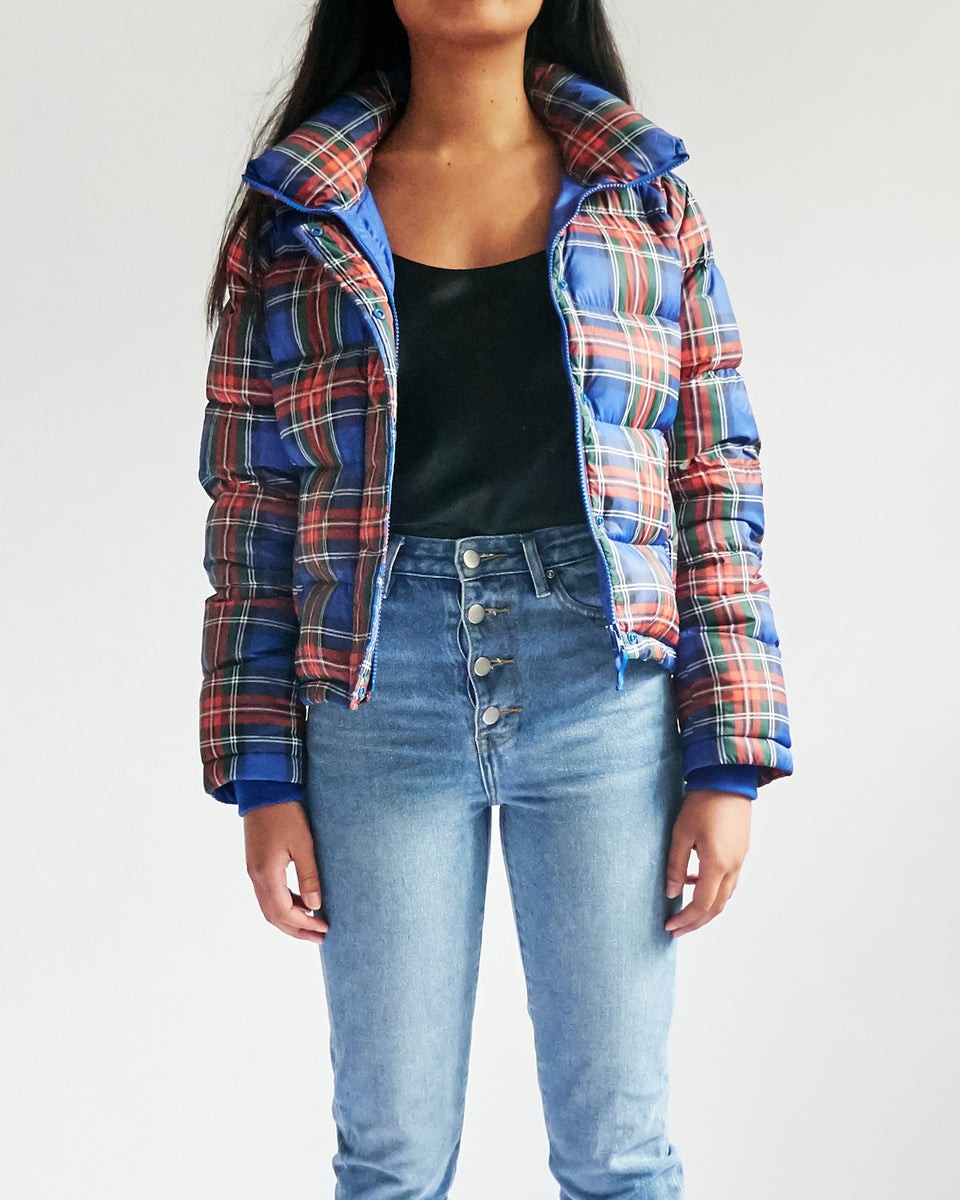 X Uniqlo Tartan Checked  Puffer Jacket
