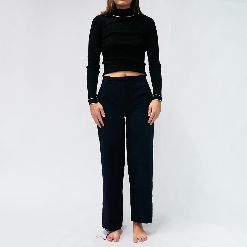 Faded Pinstripe Wideleg Trouser