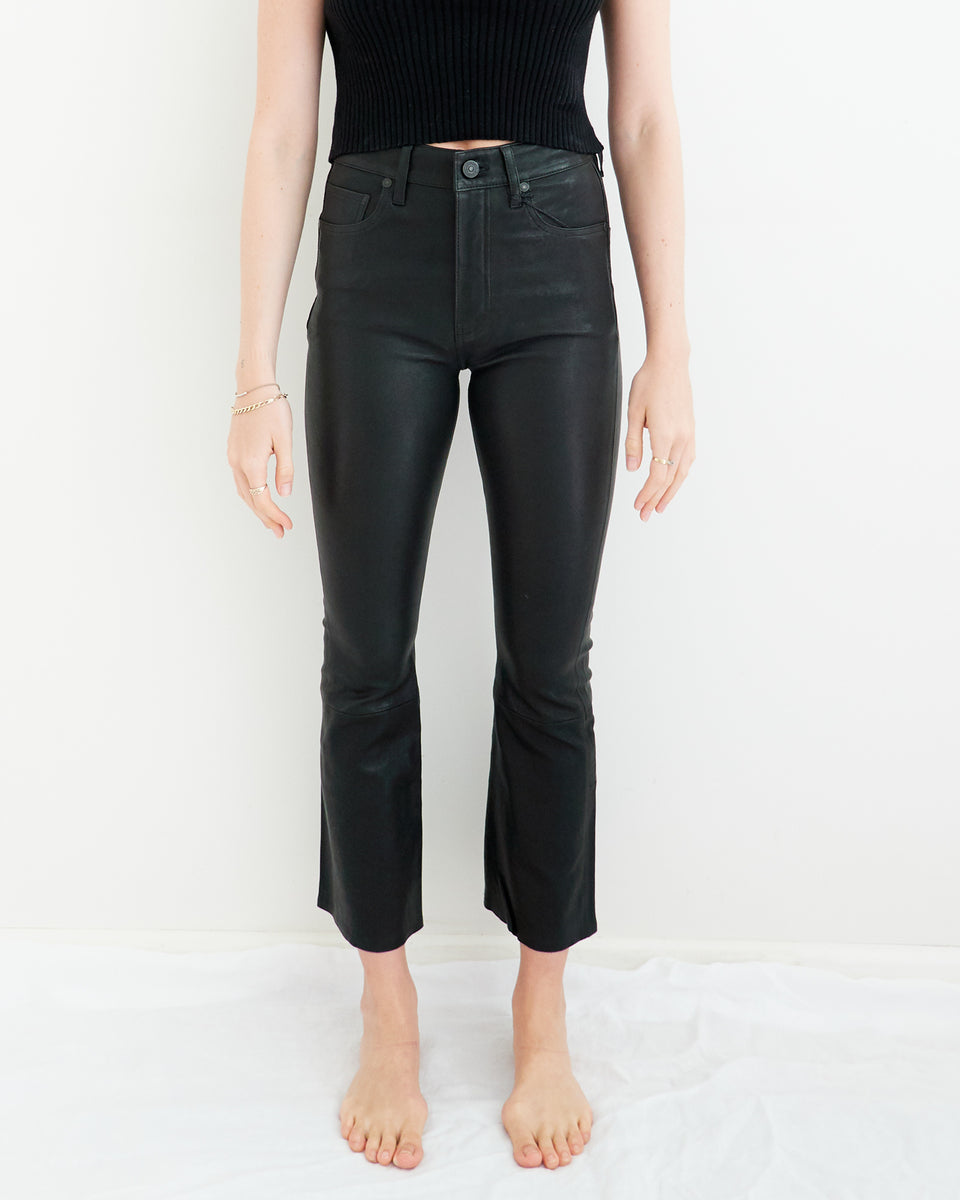 Demy Leather Cropped Flare