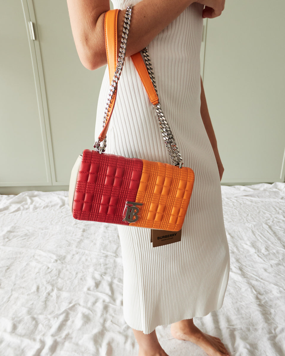 Small Quilted Colour Block Lambskin Lola Bag