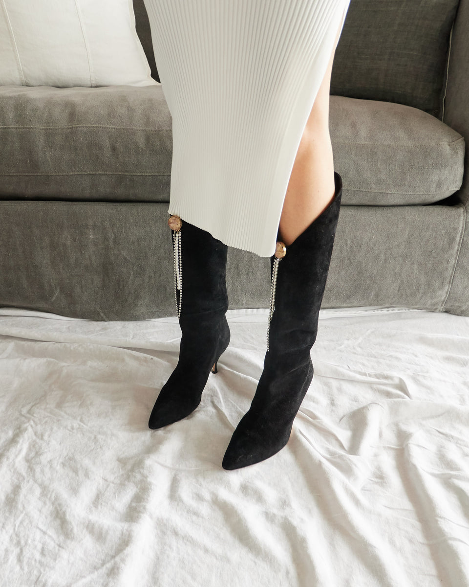 England Suede Knee-High Boots