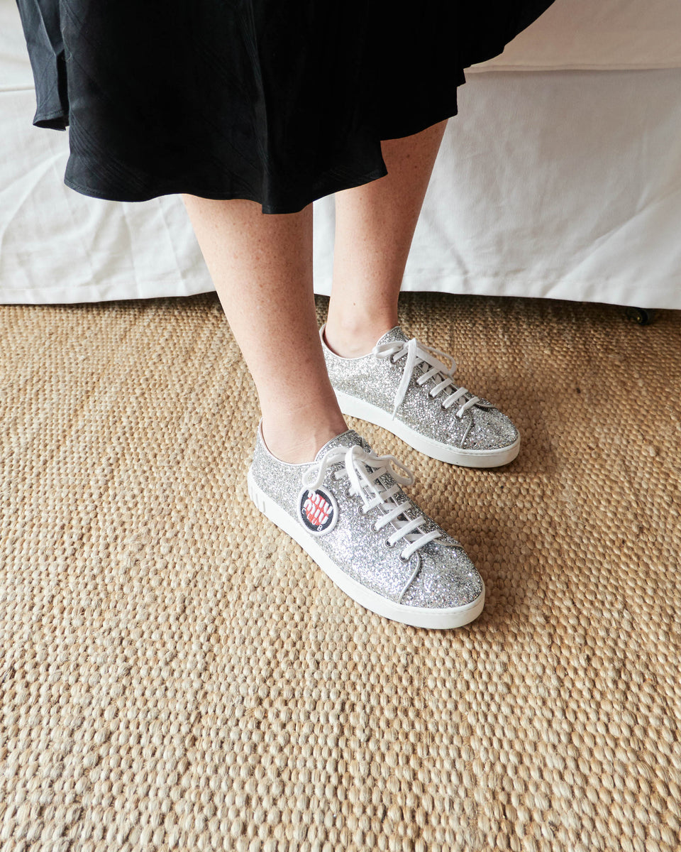 Logo Patch Glitter Sneakers