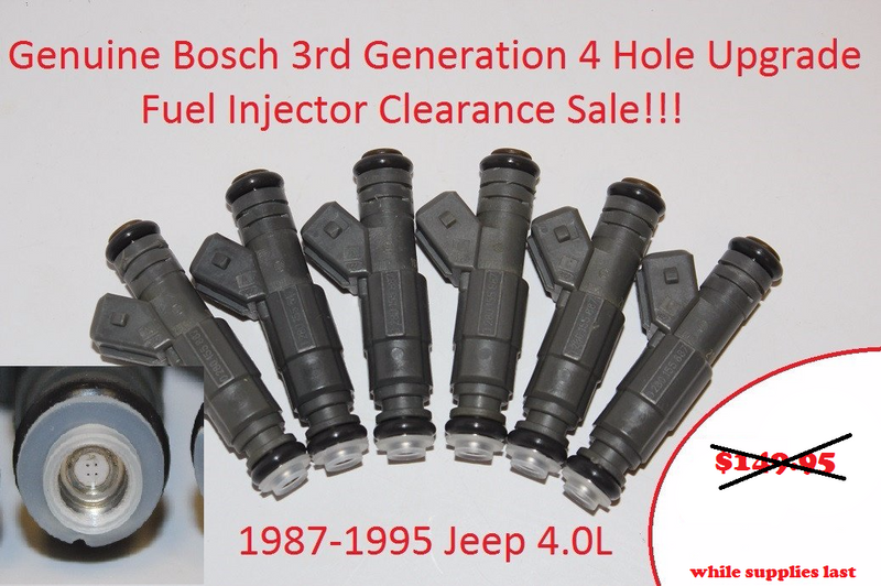 Bosch 3rd Generation Upgrade Fuel Injectors for 1987-1995 Jeep 4.0L Engines