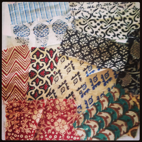 Hand block printed cotton fabrics.