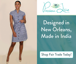 All Passion Lilie products, including this chic button-down dress in blue with short sleeves, are designed in New Orleans and made in India, many with the hand block printing process.