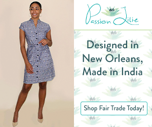 This stylish, blue, button-down dress with short sleeves and all Passion Lilie products are designed in New Orleans and made in India.