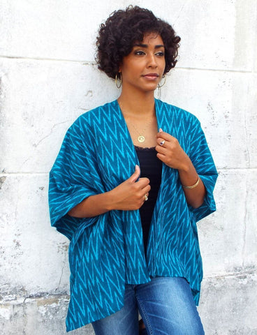 Our Aqua Blue Poncho is some of the best ethical apparel this summer