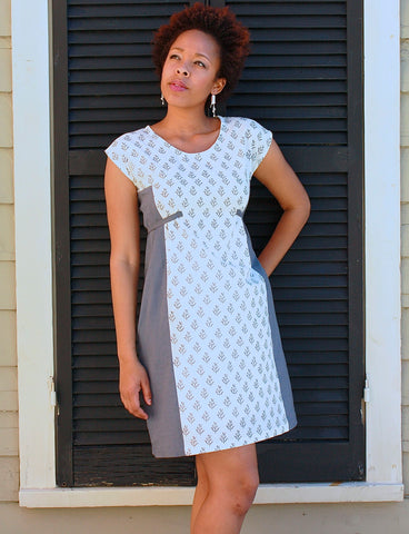 Fair trade and ethical grey and white shift dress.