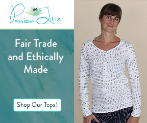 When you wear fair trade and ethically made apparel, such as this long-sleeved white top from Passion Lilie, you can support your beliefs in fair pay and eco-friendly clothing.