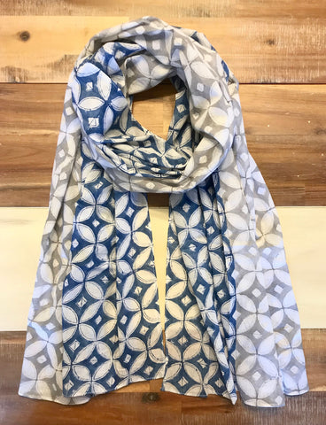 Passion Lilie accessories, such as this Blue & Grey Diamond Scarf, meet all the requirements of our ethical shopping guide.