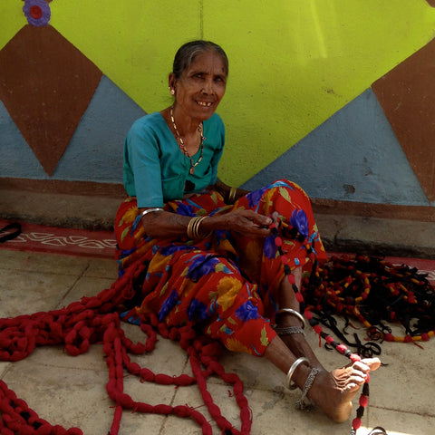 A hand loom weaver in India.