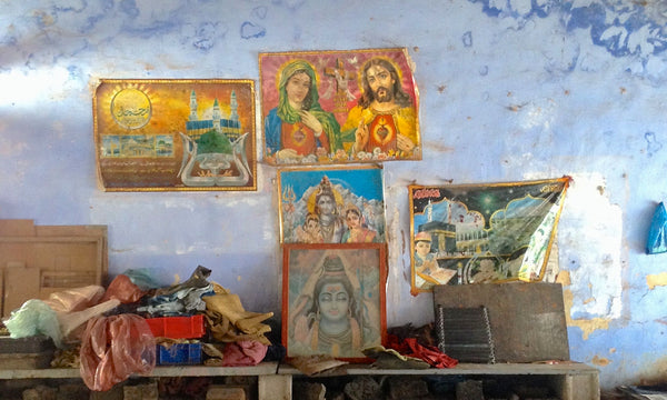 Three religions and peace at one block printing shop.
