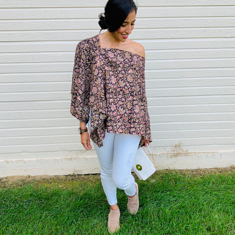 floral wrap top shoulder