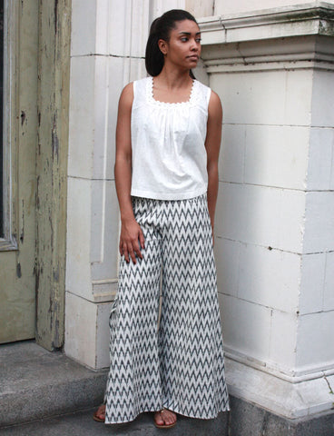 As an ethical brand, Passion Lilie produces clothing you can look and feel good wearing, such as these Spinnaker Zig Zag Pants.