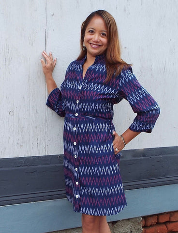 With its rich blue color, violet and white chevron print, and optional fabric belt, this colorful, button-down Mulberry Chevron Dress is a great fall outfit idea to stand out from the crowd.