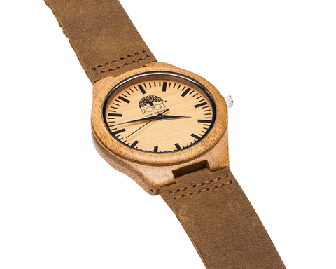 Featuring a lightweight bamboo case, quartz movement, and raw oil stained, brown leather wristband, this Bamboo Watch from Root is a stylish Valentine's Day clothing gift.