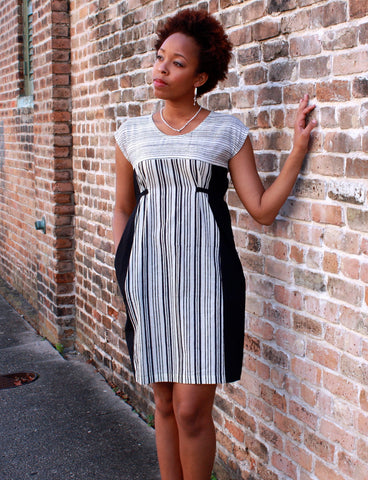 Fair trade and ethical black and white shift dress.