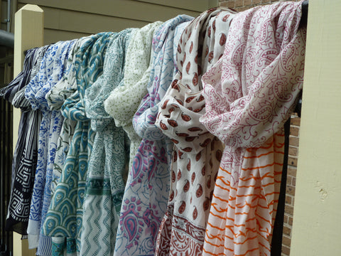 Fair trade and ethical hand block printed cotton scarves