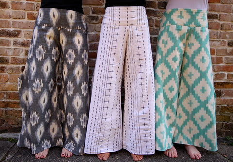 Fair trade and ethical cotton hand woven wide leg pants.