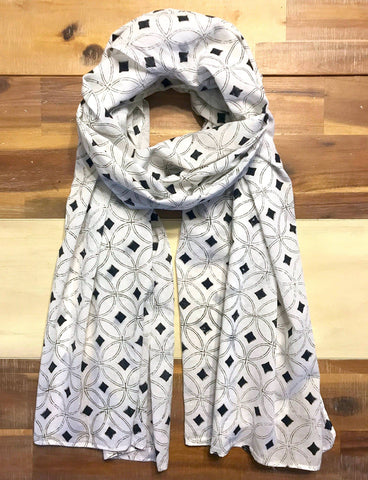 This White & Black Diamond Scarf from Passion Lilie was designed in New Orleans and made in India.