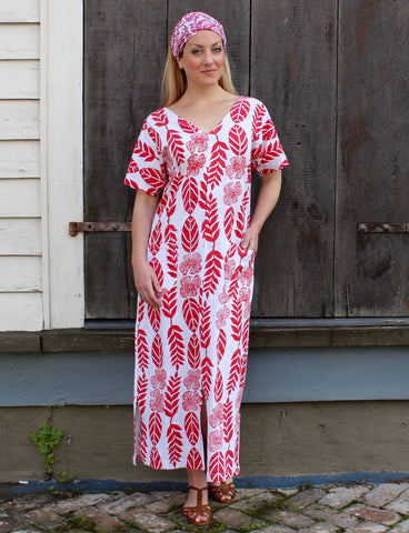 Tropical Red Organic Jersey Kaftan dress style