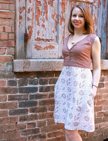Fair trade and ethical floral dress.