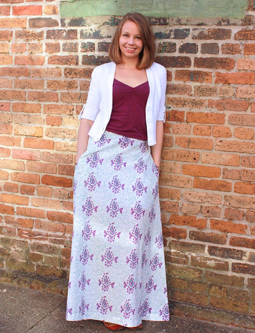 Fair trade and ethical cotton maxi skirts.