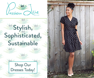 Passion Lilie products are stylish, sophisticated, and sustainable, like this little black dress with short sleeves and polka dots.