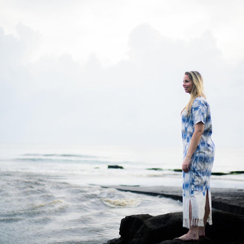 Passion Lilie's founder enjoying the beaches of Bali in our Neoma Blue Kaftan.