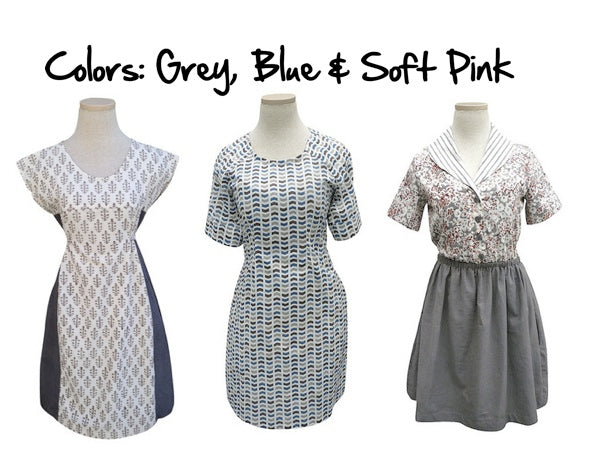 Fair trade and ethical dresses in blue, soft pink and grey.