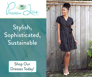 This stylish little black dress from Passion Lilie features white polka dots and short sleeves, and it is made through sustainable methods.